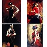 VVSUN Cuadros Dama Bailarina de Flamenco española Figura Arte sobre Lienzo Pintura de Mujer Moderna para decoración de Pared de Sala de Estar, 40x60cmx4Pcs (sin Marco)