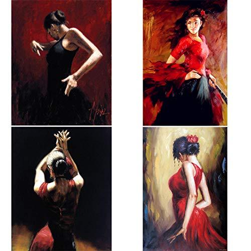 VVSUN peintures Dame espagnole Danseuse de Flamenco Figure Art sur Toile Femme Moderne Peinture pour Salon décoration Murale, 40x60cmx4Pcs (sans Cadre)
