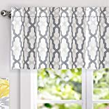 DriftAway Mason Geometric Trellis Pattern Window Curtain Valance Rod Pocket 52 Inch by 18 Inch Plus 2 Inch Header Gray