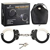 TacStealth Handcuffs with Two Keys & Handcuffs Case| Heavy Duty Black and Silver Steal Professional Grade | Bend/Break Free Secure Handcuffs