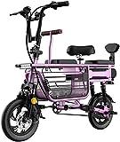 Bicicletas Eléctricas, Bicicleta eléctrica for adultos de 3 plazas bicicleta eléctrica Vespa 48v batería de litio con asiento infantil de almacenamiento Basket12 pulgadas Neumáticos a prueba de explos