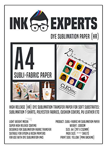 Ink Experts - Subli-Fabric - Papel de sublimación de alta liberación (A4, 100 g/m²) 100 Sheets
