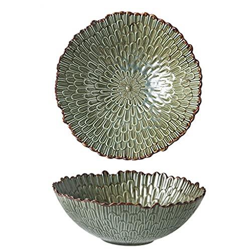 Vajilla de cerámica retro creativa con forma irregular, platos hondos, esmaltados al horno, utilizados para bistec, ensaladas, postres, pastas, etc., microondas, lavavajillas, gabinete de desinfecc