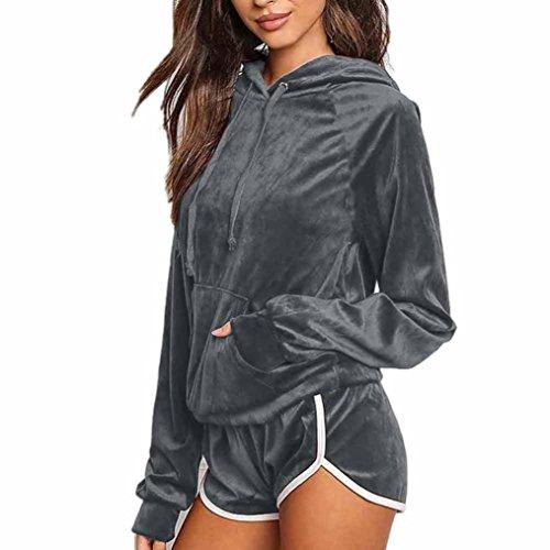 ZIYOU Bekleidung Damen 2pcs Bekleidungssets, Frauen Sport Hoodies Sweatshirt Lange Ärmel + Shorts Hosen Sets Anzug Velvet (Grau, S)