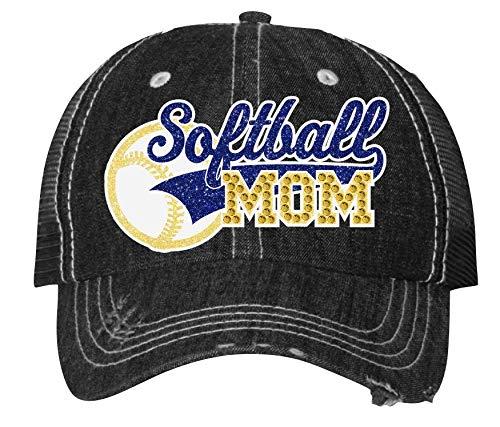 Softball Mom Free shipping Easy-to-use New Cap Sparkling Bling Womens Custom Rhinestone Sport