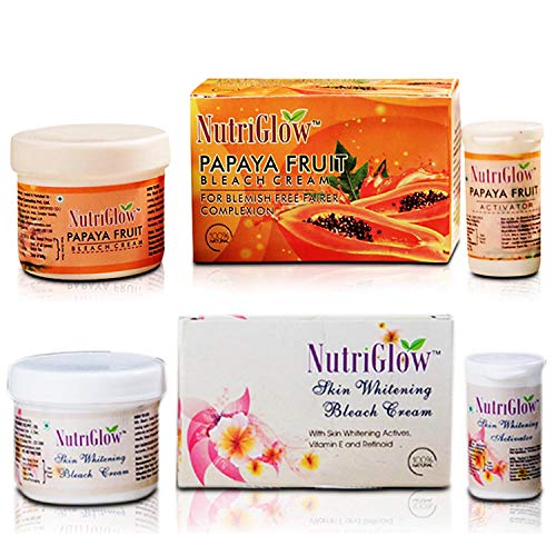 NutriGlow Combo Pack Of 2 – Papaya Fruit Bleach Cream (43 Gm) + Skin Whitening Bleach Cream (43 Gm)   Anti- Pigmentation   Blemish Free Fairer Complexion