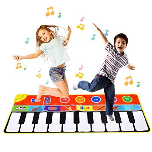 Funkprofi Piano Matte für Kinder, Tanzmatten Musikmatte Klaviermatte Keyboard Matten 10 Klaviertasten 8 Instrumente rutschfest Spielteppich für Jungen Mädchen 148 x 60 cm