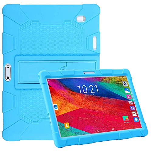 AKNICI 10.1 Inch Stand Silicone Case for Tablet Dragon Touch K10/M8 M10 Q10 Q10+ K5 K6 S10/MAIJEEP/Qimaoo K4 K6 Q10/TYD-107/TYD-108/HANWEIER/TAOERA/Huashetrade/SZWEIL/K107 - Skyblue