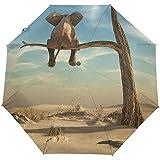 Lonely Elephant Stands Árbol marchito Paraguas de Viaje Auto Abrir Cerrar Paraguas Plegable Impermeable a Prueba de Viento