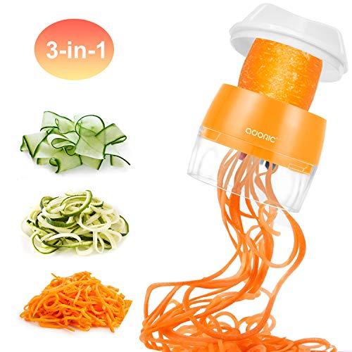 Adoric 3 in 1 Gemüseschneider, Zwiebel Zerkleiner, Edelstahl Klingen, Obst und Gemüseschneider Spiralshneider Zwiebelschneider, Ideal zum Hobeln von Obst und Gemüse (MEHRWEG)