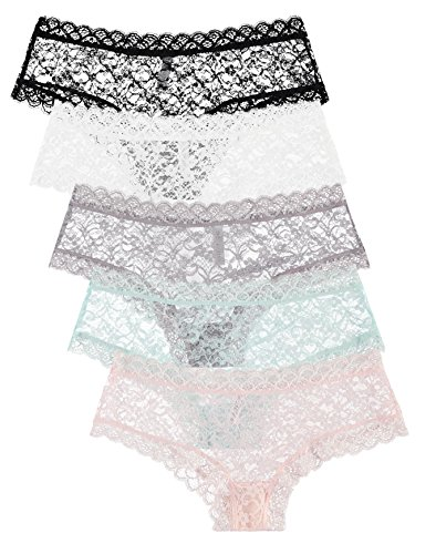 5-Pack: Free to Live Women's Trimed Sexy Lace Boy Short Panties (XL)