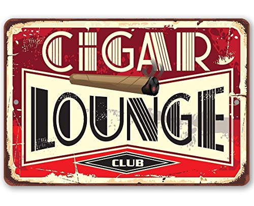 Metal Sign - Cigar Lounge - Durable Metal Sign - 8' x 12' Use Indoor/Outdoor - Great Gift and Decor for Cigar Aficionados, Bars, Restaurants, Game Rooms and Man Caves Under $15