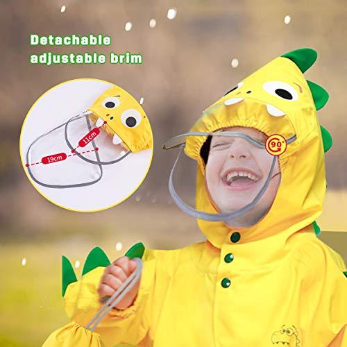 Barakara Kids Raincoat Waterproof Rain Poncho for Kids Toddler Rain Suit Puddle Suit Lightweight Reusable Hiking Hooded Rain Jacket with Safe Reflective Hape Yellow Dinosaur
