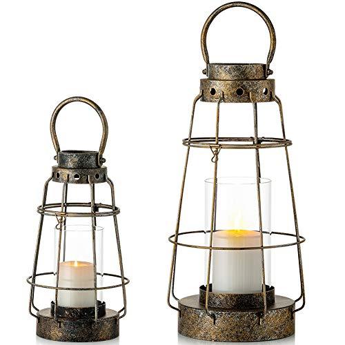 Nuptio Linterna la Vela Huracán, Sostenedor de Vela Colgante Linternas Rústicas del Estilo la Granja Candelero Interior Al Aire Libre para Boda Vendimia Fiesta Cumpleaños Decoración Jardín, 2 Piezas