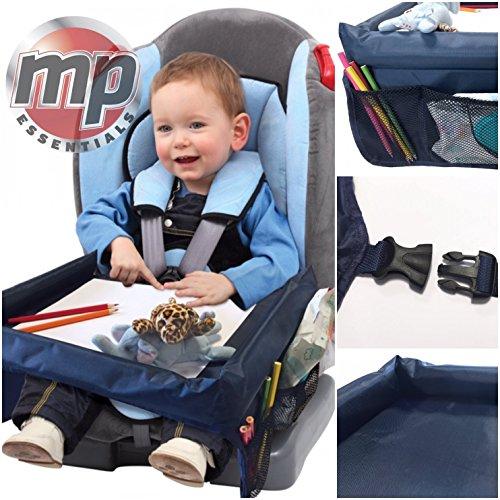 MP Essentials Auto Booster Seat, Vliegtuig & Buggy Kinderen Draagbare Reistafel met Zijvakken