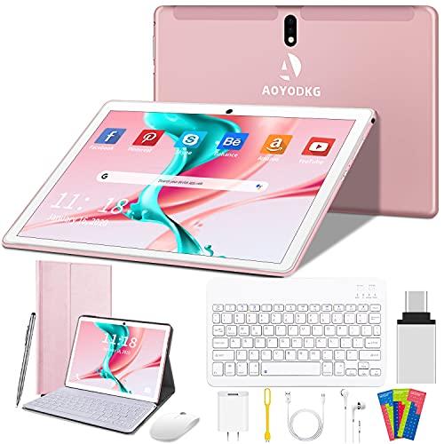 Tablet 10 Pollici, Android 9.0 Pie 4G, 4 GB RAM + 64 GB ROM / 256 GB espandibile | Supporta tablet con sconti Wi-Fi | Portatili | Doppia scheda SIM | GPS | Tipo-C | 8000mAh, 5.0 + 8.0MP (rosa)