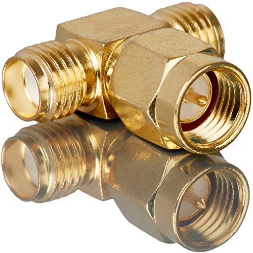 Movoja Verteiler (T-Stück) SMA-Stecker auf 2X SMA-Buchse | Adapte Verteiler T-Stecker Umwandler |