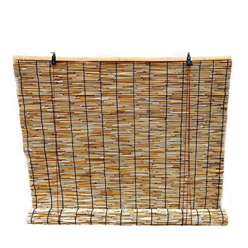 HJRD Persianas de Caña Persianas Enrollables de Bambú,Cortina de Paja Natural Retro,Sombra para Uso Exteriores e Interiores,Parasol/Transpirables(130x200cm/51x79in1pc)