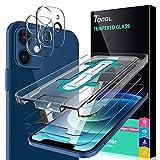 TOCOL 4 Piezas Protector de Pantalla para iPhone 12 Mini 5G 2 Piezas Cristal Templado y 2 Piezas Protector de Lente de cámara HD Vidrio Templado Marco de posicionamiento 9H Dureza