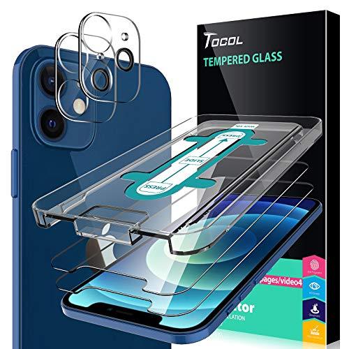 TOCOL 4 Piezas Protector de Pantalla para iPhone 12 Mini 5G 5.4 Pulgadas, 2 Piezas Cristal Templado y 2 Piezas Protector de Lente de cámara HD Vidrio Templado Marco de posicionamiento 9H Dureza
