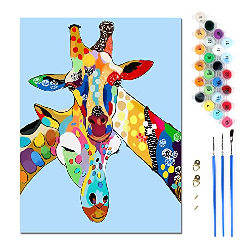 DIY Dipingere con i numeri Kit animale Giraffa colorato Pittura a olio su tela con Pennelli e Pigmento Acrilico per adulti bambini per principianti decorazione della casa Senza cornice 30x40cm