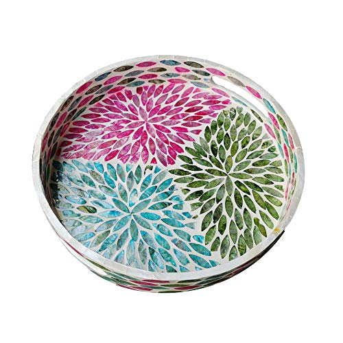 I-lan Creative Round Mother of Pearl Shell Severing Tray Lacquer Wooden Breakfast Coffee Table Top Vintage Handmade Tray Decorative Shell Multipurpose Tray S-30cm