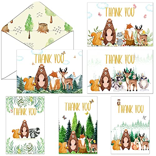 72 Pieces Woodland Thank You Cards Includes 36 Pieces Forest Envelopes and 36 Pieces Bear Forest Greeting Thank You Cards Watercolor Animal Blank Notes Cards for Birthday Kids Party Baby Shower