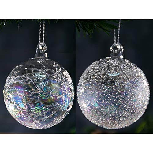 """Christmas Glass Handmade Clear Iridescent Ball Ornaments 3.95""""/10 cm Glitter Special Pattern Decoration Gift Present Mouth Blown Tree Hanging Wedding Party Home Glitter Baubles Set of 4 Pieces"""