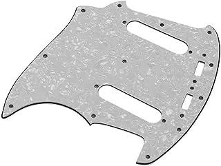 Golpeador de guitarra eléctrica de PVC de 3 capas Doolland con 2 orificios de recogida de una sola bobina para la pieza de repuesto de guitarra Fender Mustang MG69 negro