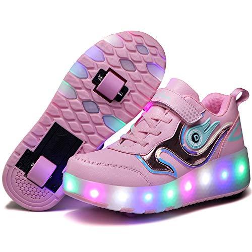 Unisex Kinder LED Rollschuhe,Schuhe mit Rollen USB Aufladen Blinken Leuchtend Skateboardschuhe,Outdoor-Sportarten Gymnastik Mode Rollerblades Sneaker Schlittschuhe...