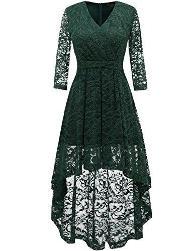 DRESSTELLS Abendkleider elegant Cocktailkleid Unregelmässig Spitzenkleid Vokuhila Floral Kleid DarkGreen M