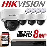 HIKVISION 8 MP System 4 CH Canal NVR IP PoE 8 MP Megapixel CCTV 2,8 mm cúpula cámara digital red Kit Trade Indoor Outdoor Nachtsicht Trade UK ds-7604ni-k1/4P ds-2cd2185fwd-i