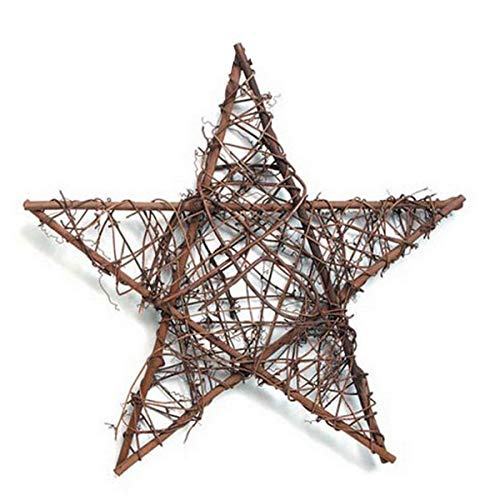 Natural Grapevine Wreath Star Shape DIY Crafts Base for Christmas Wreath Garland Gift Home Decoration 12 inches,Pack of 1