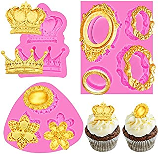 QWET 3 Pack Vintage Fondant Cupcake Molds Baroque Style, Gorgeous Vintage Royal Crown, Picture Frames Silicone Molds, for ...