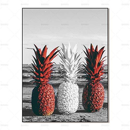 Bilder Leinwand Malerei abstrakte Malerei Kunstdrucke Ananas auf Leinwand Wandplakat Malerei A73 60x90cm