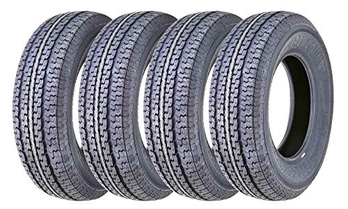 Set 4 FREE COUNTRY Premium Trailer Tires ST205/75R15 8PR Load Range D w/Featured Side...