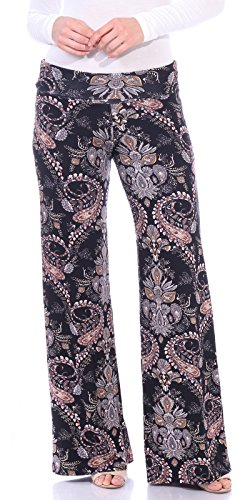 Popana Womens Casual Print Palazzo Pants Plus Size Made in USA Large...
