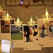 Areskey 星の形クリップライト LEDストリングライト 20LED写真/絵クリップ DIY吊り下げる飾り 3.6M イルミネーションライト 単三電池3本電源駆動とUSB式をサポートクリスマス/新年/結婚式/誕生日/パーティー (ウォームホワイト)