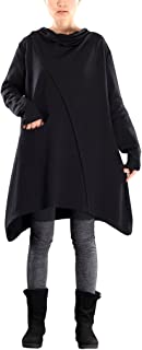 Mordenmiss Women's Pile Collar Sweatshirt Twill Asymmetry Baggy Midi Dress Pullover