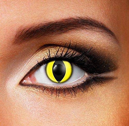Lentillas de gato de color amarillo