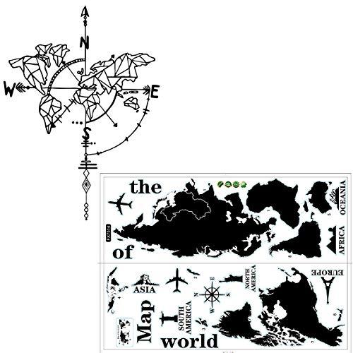 Negro Mapa del Mundo Pegatinas de Pared, Jicyor 2pcs Desmontable Brújula Tierra Etiqueta de la Pared Brújula Náutica Decorativos Adhesivos para Oficina Dormitorio Salón Sala