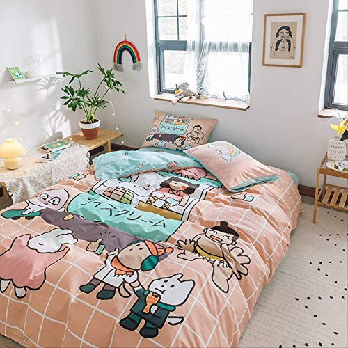 MEIQIQ 3/4-piece Cotton Bedding,anime Cartoon Series,single/Double, Student Dormitory Decoration,quilt Cover, Bed Sheet/mattress Cover,Two pillowcases, 1.5m bed sheet (quilt cover 200 * 230cm)