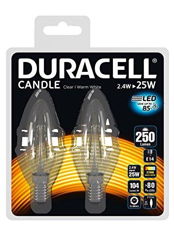 Duracell - Bombilla LED de vela transparente (2,4 W, casquillo E14, larga duración, encendido instantáneo)
