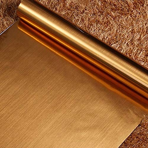 jidan Moderne Silber gebürstetes Metall Möbeldekor Vinylselbstklebenden Tapetenrollen Küchenschrank Kühlschranktür PVC wasserdichte Folie (Color : Golden, Dimensions : 60cmX10m)