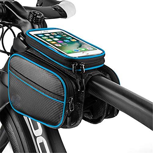 YYDM Bolso De Bicicleta, Bolsa De Teléfono Móvil A Prueba De Agua, Pantalla Táctil TPU Y Diseño Reflectante, Fácil De Instalar, Adecuado para Pantalla De 6.0-6.2 Pulgadas,Azul,6 Inches