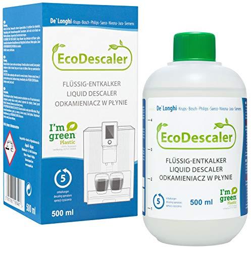 Ökologischer Entkalker 1x 500 ml | Flüssig-Entkalker für alle handelsüblichen Kaffeevollautomaten und Espressomaschinen | 5 Entkalkungsvorgänge je Flasche aquali