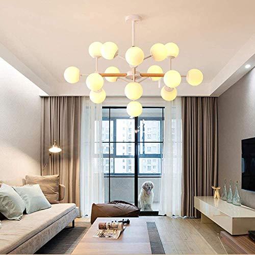 Luz de techo de madera de vidrio transparente moderno del siglo mediocuosa lámpara de espuma de vidrio claro ramas lámpara colgante de frijol mágico para comedor dormitorio leche blanco 16 luces