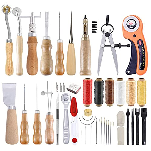 52 Pcs Leather Tools, Leather Tool Set with Instruction, Leather Groover,...