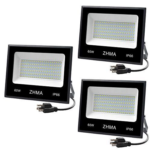 ZHMA 3 Pack 60W LED Flood Light With Plug(Warm White),6000lm Super Bright Security Lights(300W halogen lights equivalent) IP66 Waterproof Outdoor Landscape Floodlight for Back Yard, Garden, Playground