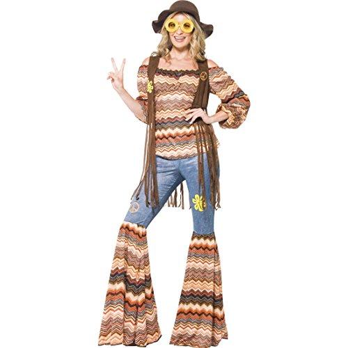 NET TOYS Costume Hippie années 70 L 46/48 Costume de Baba Cool Vintage années 60 Flower Power soirée déguisée Costume rétro déguisement de Carnaval Costume Femmes